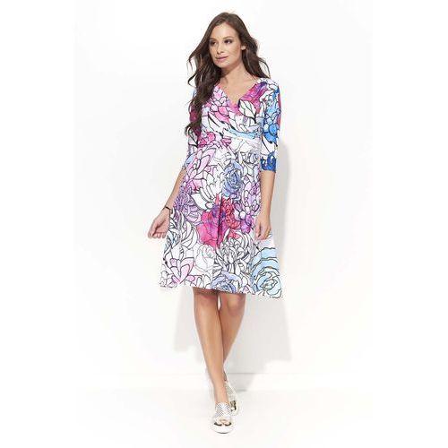 Wizytowa Sukienka w Kwiatowy Wzór z Kopertowym Dekoltem - Wzór 2, w 4 rozmiarach