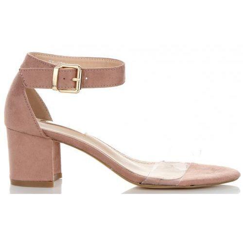 Firmowe buty damskie sandały na szerokim obcasie marki bellucci pudrowy róż (kolory), Belluci