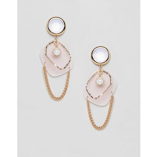 earrings in abstract open shape design with pearl and resin in gold - gold marki Asos design