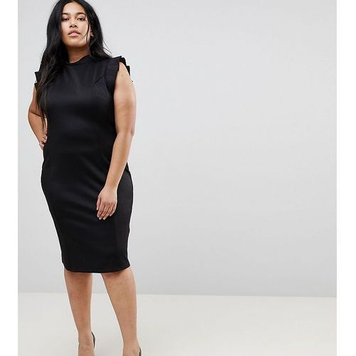 Asos curve midi high neck pencil dress with cut out back and shoulder detail - black