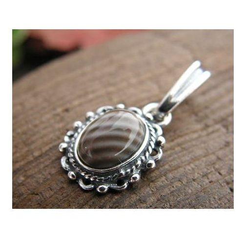 ROBERTA - srebrny wisiorek z krzemieniem pasiastym