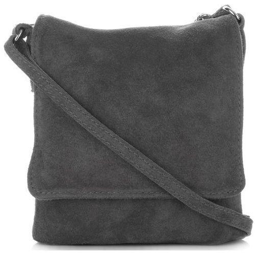 fce25d92f828a Uniwersalne torebki skórzane listonoszki firmy wykonane w całości z zamszu  naturalnego szare (kolory) marki Vittoria gotti 79