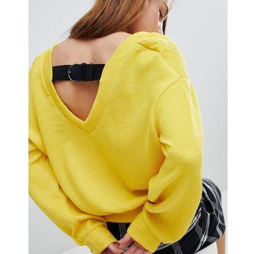 buckle back balloon sleeve jumper - yellow marki Bershka