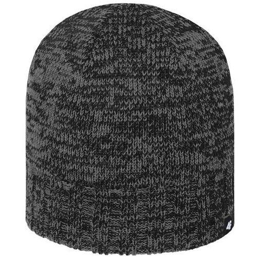 4f Męska ciepła czapka z polarem h4z18 cam008 20m czarny szary melanż l/xl