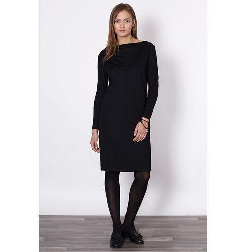 f4610eb2ca Click fashion Czarna sukienka z dekoltem woda - 229
