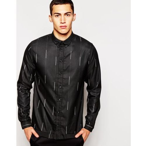 2xH Brothers Shirt In Broken Pinstripe - Black, kolor czarny