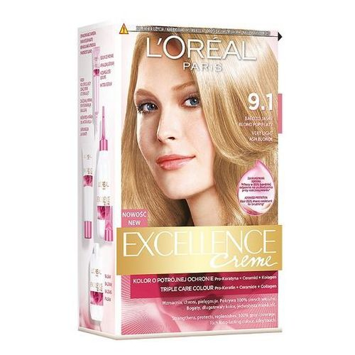 LOREAL Paris Excellence Creme 9.1 Bardzo jasny blond popielaty krem koloryzujący, L'Oreal
