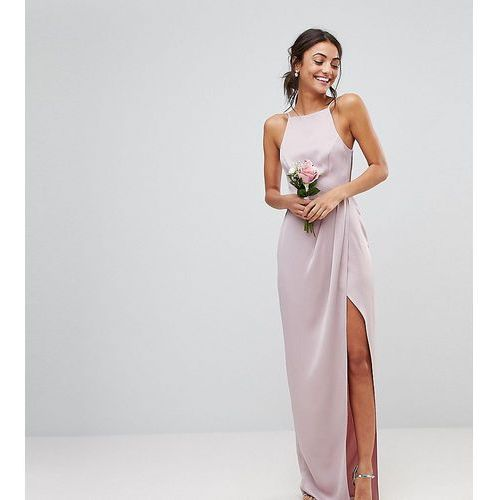 ASOS DESIGN Tall drape front strappy back maxi dress - Pink