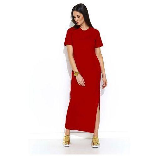 Czerwona dzianinowa prosta sukienka maxi z rozcięciem, Makadamia, 36-40