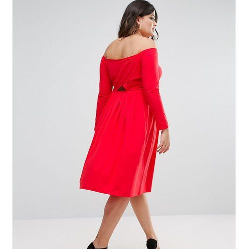 Asos curve wrap back off shoulder midi dress with long sleeves - red