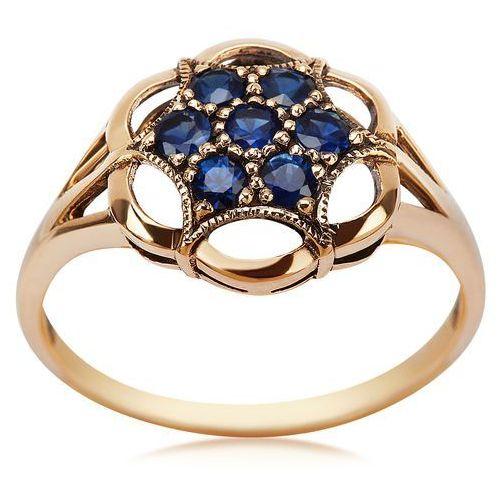 Kolekcja wiktoriańska - pierścionek z brylantami i szafirem marki Biżuteria yes