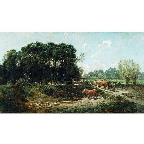 obraz Bydło schodzące do wodopoju - Józef Szermentowski (obraz)