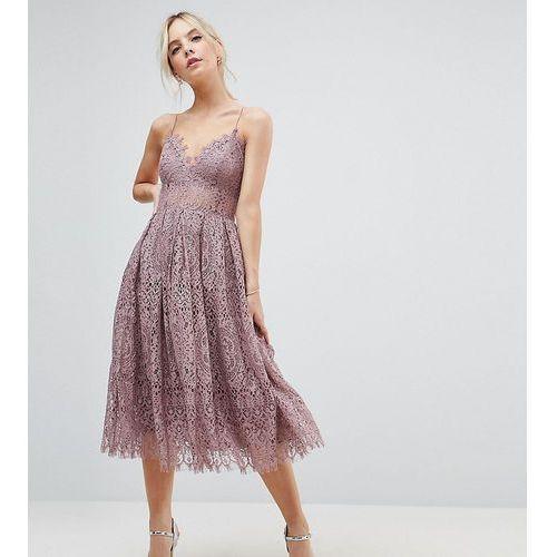 ASOS PETITE Lace Cami Midi Prom Dress - Purple