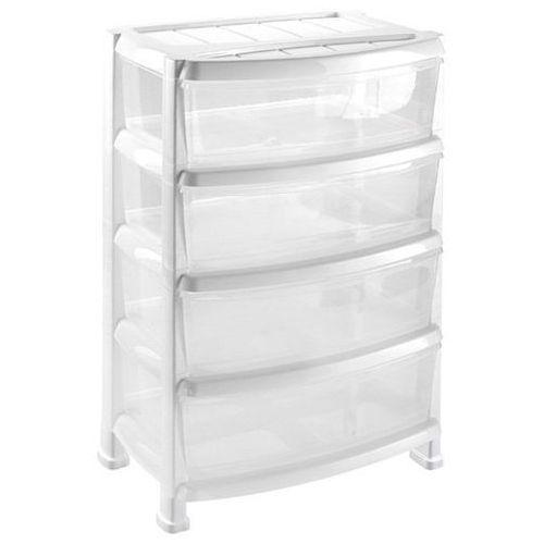Heidrun regał z 4 szufladami szeroki biały