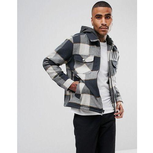 Brixton Casburn Flannel Jacket With Removable Hood - Grey, w 4 rozmiarach