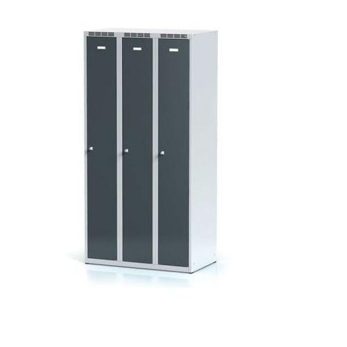 Metalowa szafka ubraniowa trzydrzwiowa, antracytowe drzwi, zamek cylindryczny