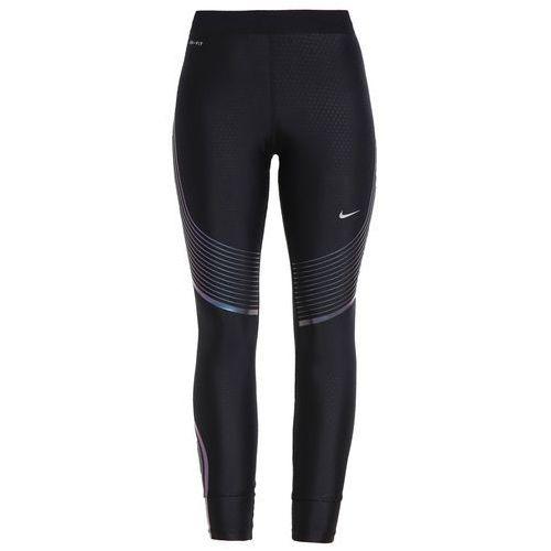 Nike Performance POWER SPEED Legginsy black/iridescent/reflective silver, materiał poliester  elastan, czarny