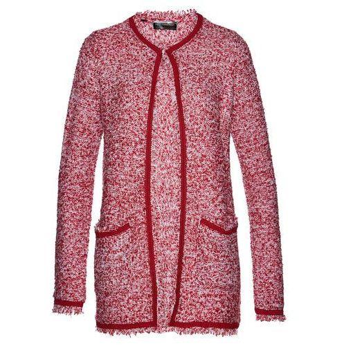 Płaszcz dzianinowy ciemnoczerwono-biały marki Bonprix