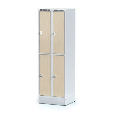 Szafka ubraniowa 4 drzwi na cokole, drzwi lpw, brzoza, zamek cylindryczny marki Alfa 3