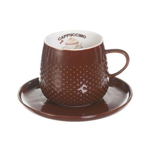 Dekoria filiżanka ze spodkiem raindrop coffee dark brown porcelana 270ml, 270ml