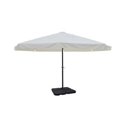 Biały parasol ogrodowy z aluminiową ramą i przenośną podstawą, produkt marki vidaXL