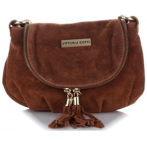 3f60e5e302008 Vittoria gotti Małe torebki skórzane listonoszki wykonane w całości z  zamszu naturalnego brązowa (kolory) 99