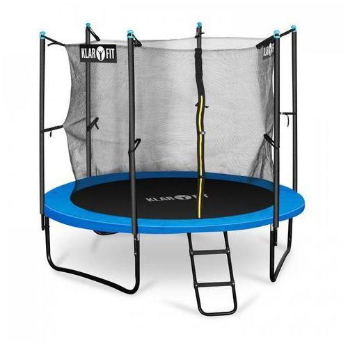 Klarfit rocketboy 250 trampolina 250cm siatka bezpieczeństwa wewnątrz, szeroka drabinka, niebieska