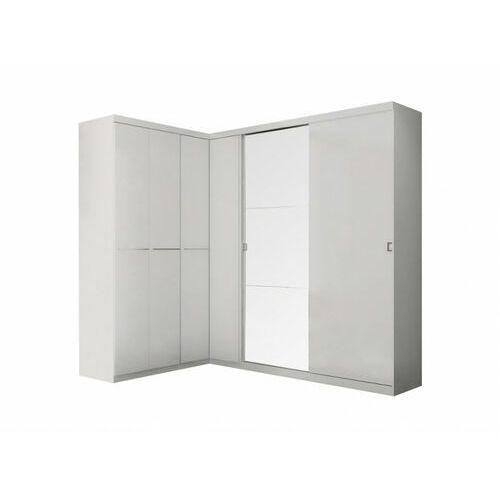 Vente-unique Szafa / garderoba narożna olof z lustrem - 6 drzwi - kolor: biały