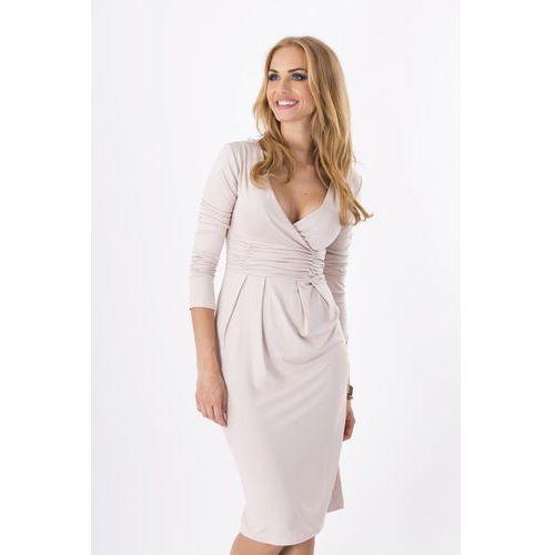 Beżowa Elegancka Sukienka Midi z Kopertowym Założeniem, D6801cr