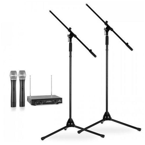 Electronic-star zestaw mikrofonów bezprzewodowych ze statywami / 2 mikrofony bezprzewodowe vhf / 2 statywy / czarny