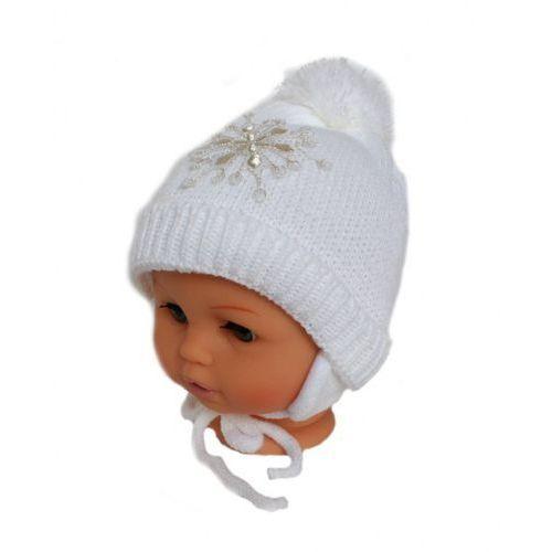 Zimowa czapka niemowlęca z szalikiem, podszyta polarem, rozmiar: 0 – 4 miesięcy marki Proman
