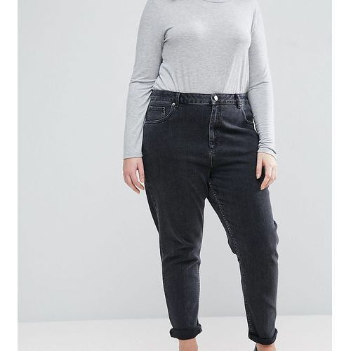 ASOS DESIGN Curve Farleigh high waist slim mom jeans in washed black - Black, jeans