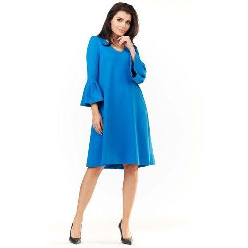 fca800e0a8 Niebieska Sukienka Wizytowa o Luźnym Kroju z Falbankami przy Rękawach