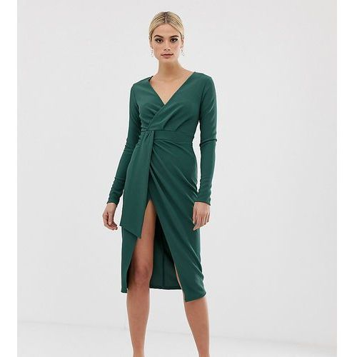 Asos tall Asos design tall long sleeve wrap midi dress with belt detail - green