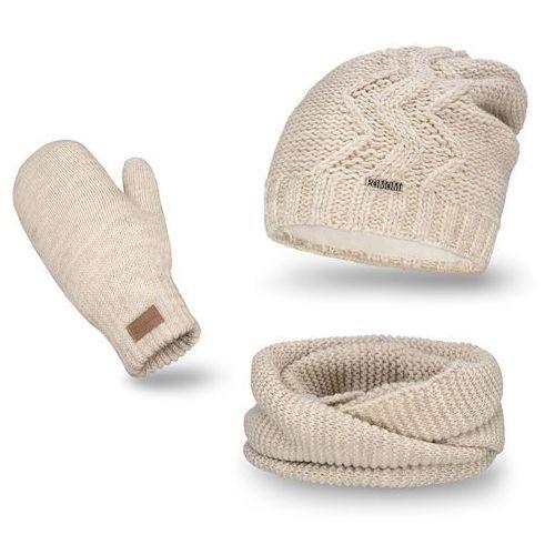 Komplet PaMaMi, czapka, komin i rękawiczki - Beżowy - Beżowy (5902934055345)