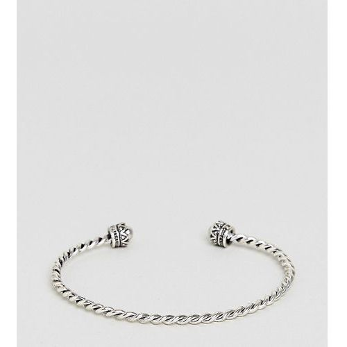 ASOS DESIGN Curve Burnished Twist Cuff Bracelet - Silver, kolor szary