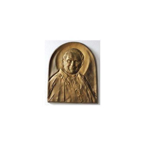 Art deco Piękna płaskorzeźba w skórze z świętym papieżem janem pawłem ii - pd-1