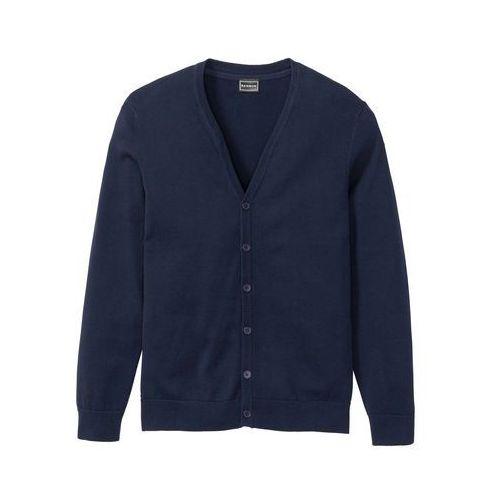 Sweter rozpinany bonprix ciemnoniebieski, kolor niebieski
