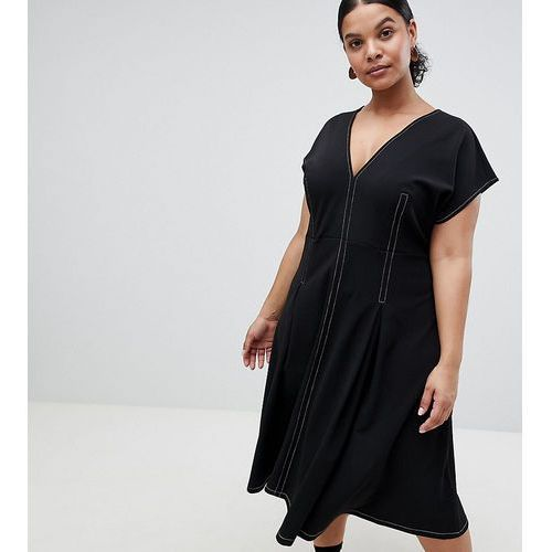ASOS DESIGN Curve fit and flare midi dress with contrast stitching - Black, kolor czarny