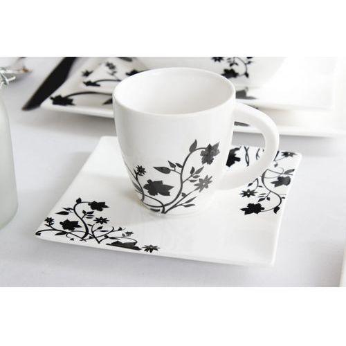 Serwis obiadowo-kawowy DUO PORTO na 6 osób (30 el.) -- biały czarny - sprawdź w Garneczki.pl - Wyposażenie Kuchni!