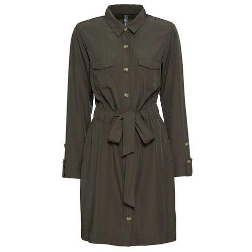 Sukienka ecru-ciemnoróżowy z nadrukiem, Bonprix, 34-50