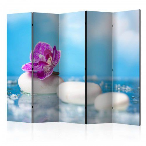 Parawan 5-częściowy - Różowa orchidea i kamienie Zen II [Room Dividers]