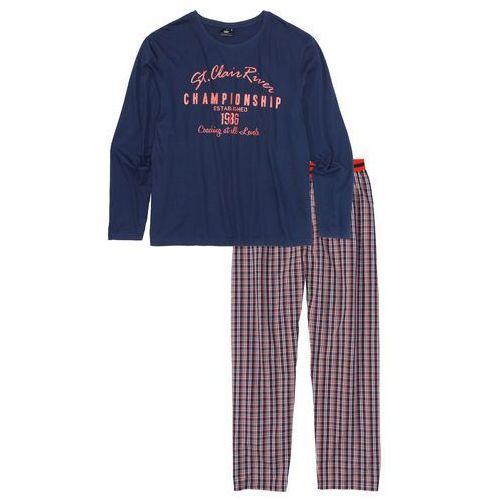 Piżama ze spodniami z tkaniny niebiesko-biało-pomarańczowy wzorzysty marki Bonprix