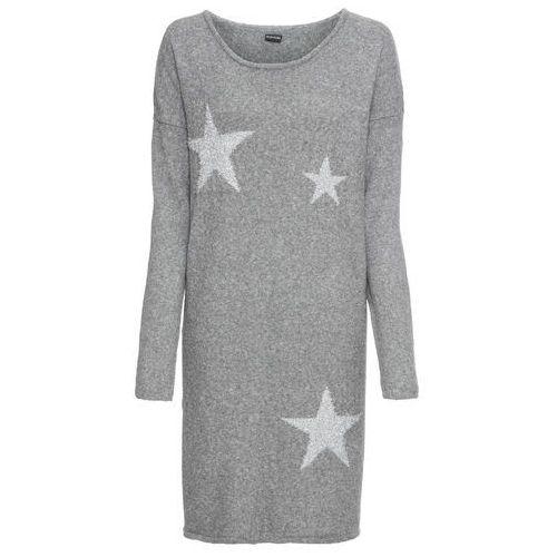 3cd4761a97 Bonprix Sukienka dzianinowa w gwiazdy szary melanż - srebrny 109