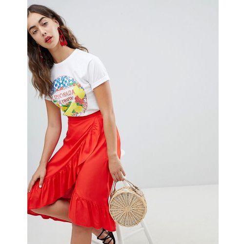 New Look Ruffle Wrap Midi Skirt - Red