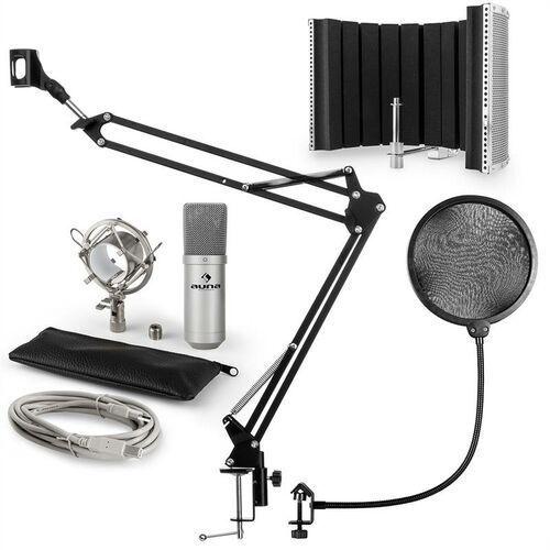 mic-900s usb zestaw mikrofonowy v5 mikrofon pop filtr osłona mikrofonu ramię srebrny marki Auna