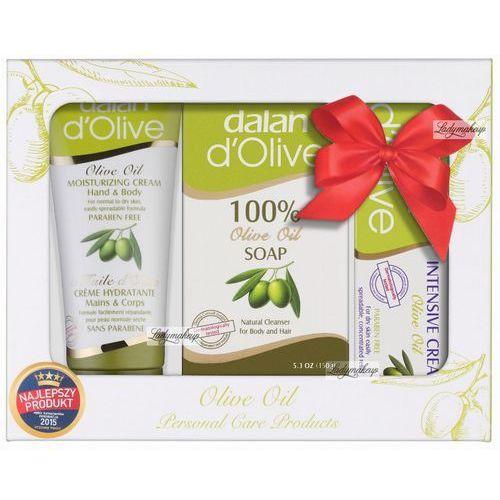D'olive Dalan  - olive oil - świąteczny zestaw kosmetyków oliwkowych (mydło do ciała i włosów, 2 kremy do rąk i ciała)