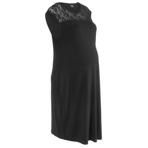 Sukienka ciążowa shirtowa z koronką bonprix czarny, kolor czarny