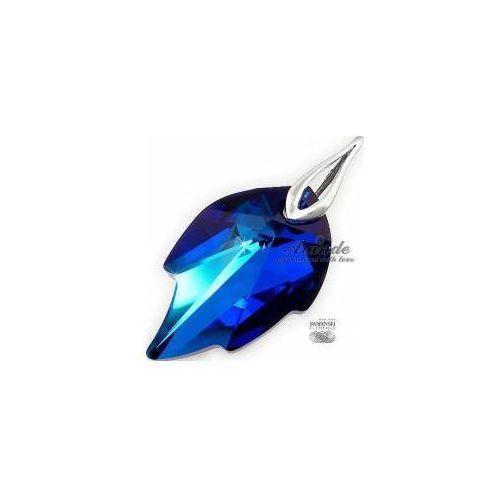 NOWE SWAROVSKI piękny wisiorek BLUE LEAF SREBRO
