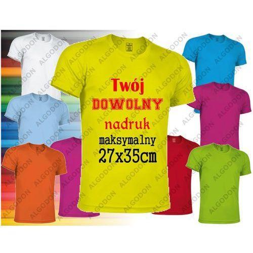 93af05fd0055d8 Koszulka z nadrukiem z dwóch stron sportowa oddychająca termoaktywna T-shirt  z własnym indywidualnym nadrukiem 4-5-wzrost-116-134-cm  rozowy-ciemny-magenta ...